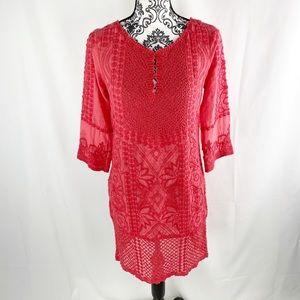 Yoana Baraschi Crochet Lace Peep Collar Midi Dress